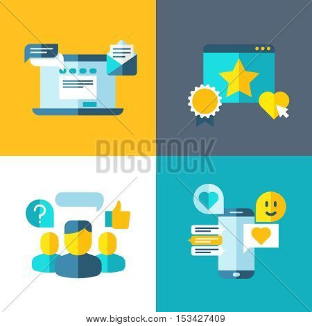 Customer service, client survey, feedback, rating concept background in flat style. Web communication with client illustration