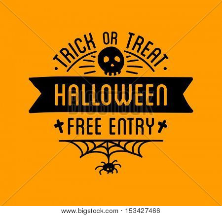 Halloween stylish logo Black vector illustration for card, invitation and banner. Isolated on white background.