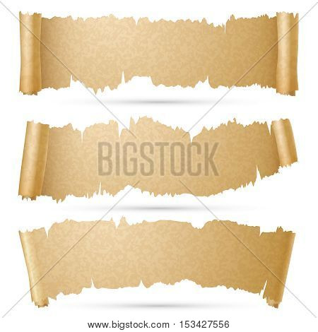 Scroll paper banners vector set. Old ragged roll old parchment illustration
