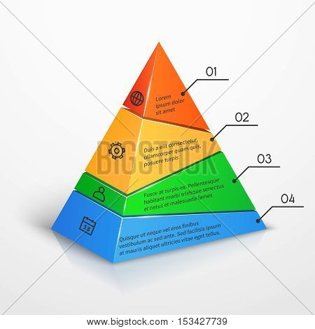 Layers hierarchy pyramid chart vector presentation infographic template. Color level with number illustration