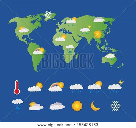 a weather icon set with world map