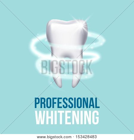 Teeth protection, tooth care dental medical vector concept. Protective vortex around tooth illustration