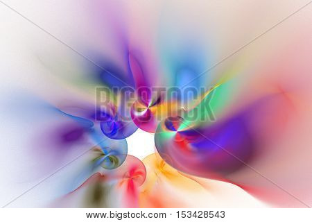 Abstract pink purple orange green and blue smoky shapes on white background. Fantasy fractal design for posters or greeting cards. Digital art. 3D rendering.
