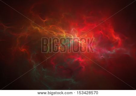 Glowing nebula. Abstract red green and orange blurred shapes on black background. Fantasy fractal design. Digital art. 3D rendering.