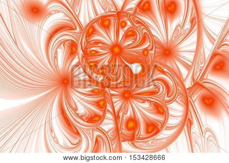 Stylized orange flowers. Abstract intricate ornament on white background. Fantasy detailed fractal texture. Digital art. 3D rendering.