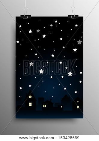 Vertical Poster Banner A4 Sized Vector Hanging With Paper Clips. Vector background. Starry night sky. Stars, sky, night. Silhouette of the city. Moon.
