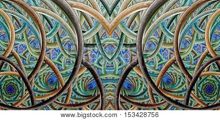 Abstract intricate ornament on black background. Symmetric fractal texture in brown blue and green colors. Digital art. 3D rendering.