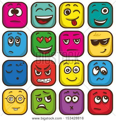 Set of colorful emoticons, square emoji flat. Vector Illustration.