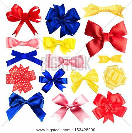 Set of colorful festive bows on white background