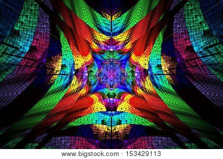 Rainbow mosaic. Abstract colorful floral ornament on black background. Psychedelic fractal design for wallpapers posters or greeting cards. Digital art. 3D rendering.