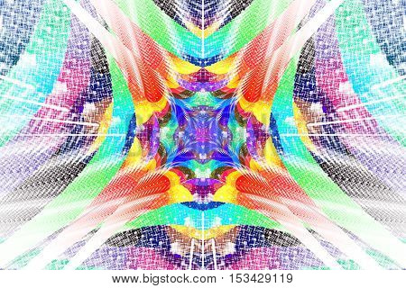 Rainbow mosaic. Abstract colorful floral ornament on white background. Psychedelic fractal design for wallpapers posters or greeting cards. Digital art. 3D rendering.