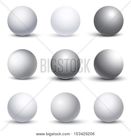 White 3D spheres with shadows vector set. Shape of round element illustration