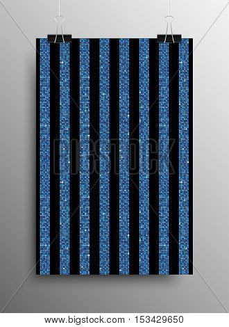 Vertical Poster Banner A4 Vector Paper Clips. Parallel Vertical Blue Sequins Lines Black Background. Blue Mosaic, Sequins, Glitter, Sparkle, Stars. Abstract Background.