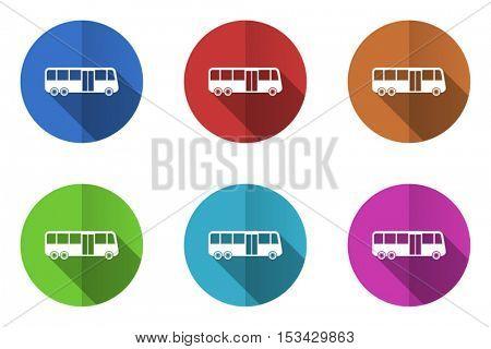 Bus flat design vector icons