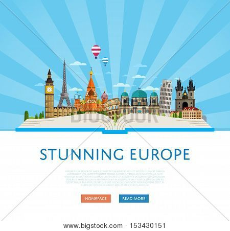 poster of Welcome to Europe travel background. Europe travel landmark and famous travel place. World traveling concept flat vector illustration. Famous Europe buildings. Europen architecture in cartoon style. Europe. World travel background. Travel banners. Travel.