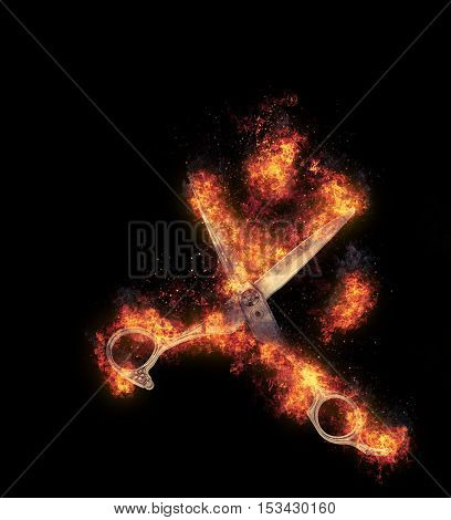 Scissors are covered in flames on a dark background.