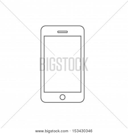 Smartphone line outline style vector illustration, simple mobile phone sketch line art isolated on white background