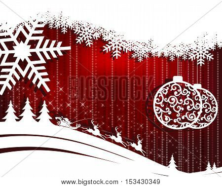 Christmas design red background with balls, Santa Claus in cart with reindeer