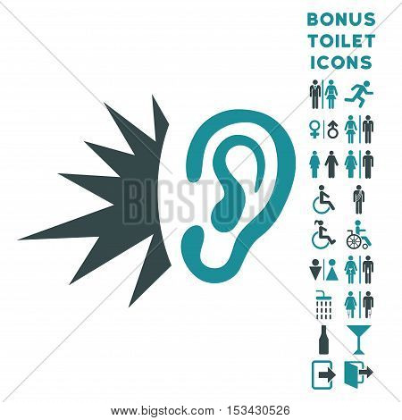 Listen Loud Sound icon and bonus male and lady toilet symbols. Vector illustration style is flat iconic bicolor symbols, soft blue colors, white background.