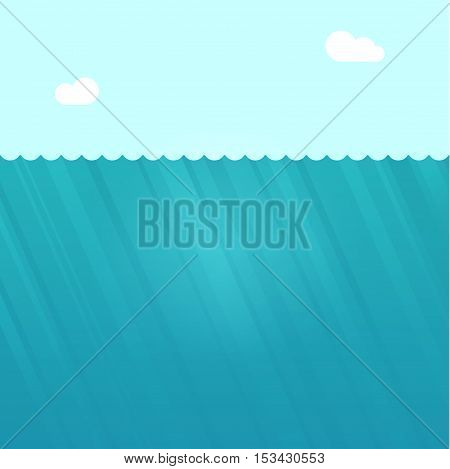 Underwater scene vector illustration, under water ocean background landscape with sun light rays, deep water