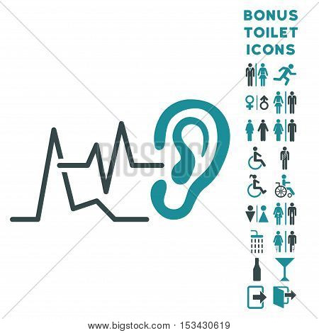 Listen Signals icon and bonus male and female WC symbols. Vector illustration style is flat iconic bicolor symbols, soft blue colors, white background.