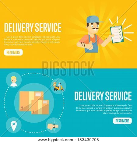 Delivery service with smiling delivery man in uniform with clipboard on yellow background. Closed cardboard boxes on blue background. Delivery service website templates, vector illustration. Professional delivery man concept. Delivery service concept. Del