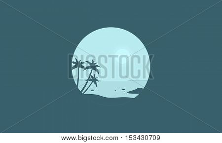 Palm on the beach silhouettes collection stock