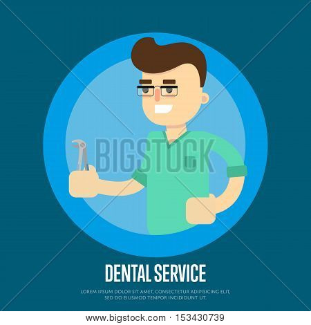 Smiling male dentist in green medical uniform holding dental pliers on blue background. Dental service vector illustration. Cartoon character in flat design. Oral hygiene. Stomatology clinic concept. Dentist work. Dental elements. Graphic for dental clini