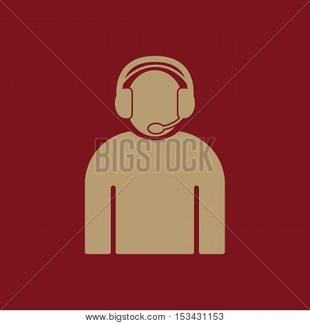 The call center icon. Support symbol. Flat Vector illustration