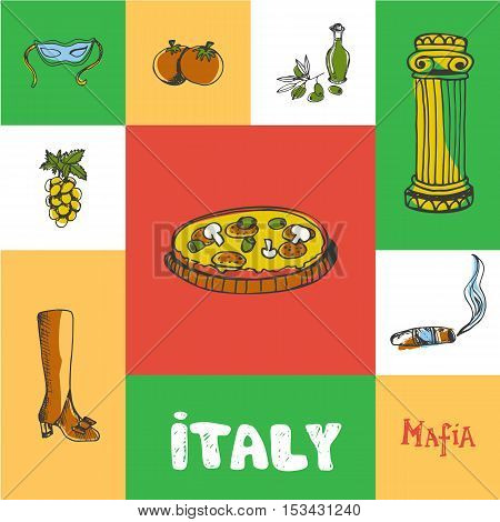 Italy checkered concept in national colors. Pizza, mafia boss cigar, olive oil, tomatoes, carnival mask, grapes, fashion shoes hand drawn vector icons. Italy foods icons. Travel to Italy symbol concept. Discover Italy. Elements of Italy for travel agency.