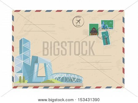China vintage postal envelope with postage stamps and postmarks on white background, isolated vector illustration. Chinese modern skyscraper. Air mail stamp. Postal services. Envelope delivery. Gift envelope. Souvenir of trip. Travel souvenir.