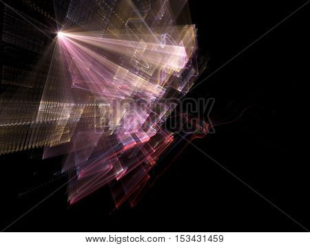 Abstract background element. Three-dimensional composition of wave shapes, grids and beams. Media information concept. Blue, red and yellow colors on black.