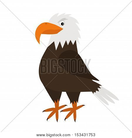 Eagle. Big beak. Beautiful Exotic bird icon. Baby animal collection. Cute cartoon funny character. Flat design. White background. Isolated. Vector illustration