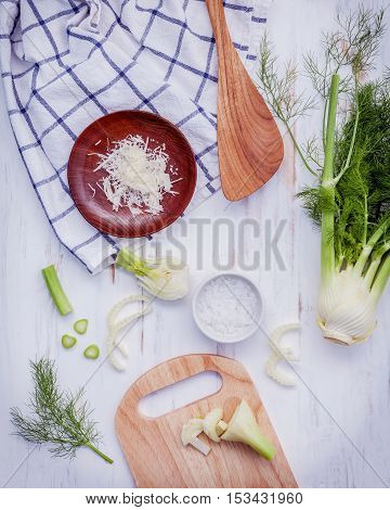 Fresh Organic Fennel Bulbs For Culinary Purposes On Wooden Background.