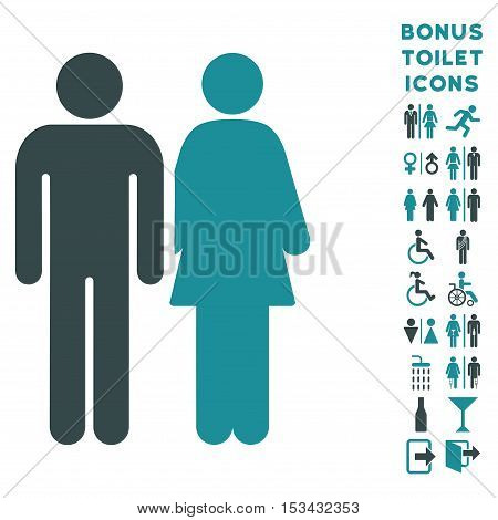 Married Couple icon and bonus gentleman and female restroom symbols. Vector illustration style is flat iconic bicolor symbols, soft blue colors, white background.