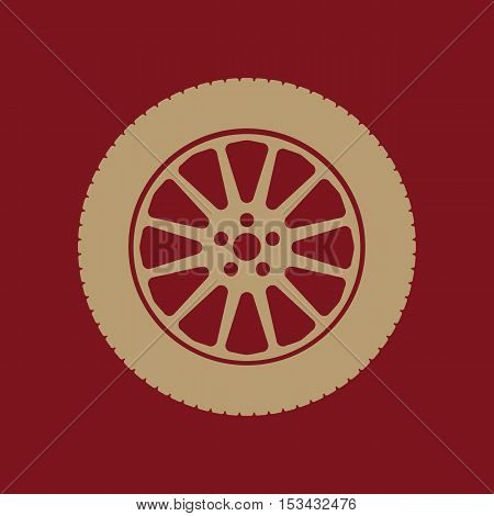 The tire icon. Wheel symbol. Flat Vector illustration