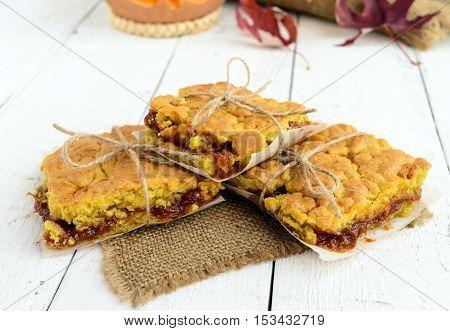 Freshly baked homemade cake with apricot jam. Dessert on holiday