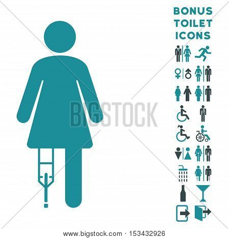 Patient Woman icon and bonus male and woman lavatory symbols. Vector illustration style is flat iconic bicolor symbols, soft blue colors, white background.