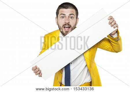 Happy Businessman Holds A Copy Space For Advertisement