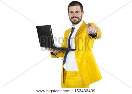 Businessman In A Golden Suit Pointing At You