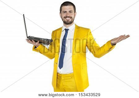 Businessman Throws Up His Hands In A Gesture Of Victory