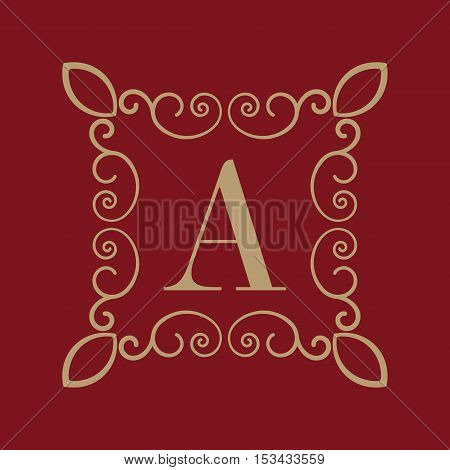 The Monogram letter A. Calligraphic ornament. Gold. Retro, Business and Vintage Concepts. Vector illustration
