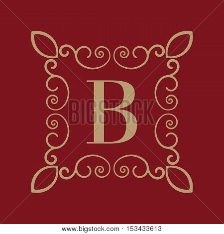 The Monogram letter B. Calligraphic ornament. Gold. Retro, Business and Vintage Concepts. Vector illustration