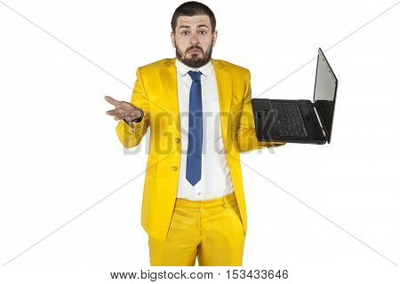 Businessman Does Not Know How To Operate A Wireless Computer