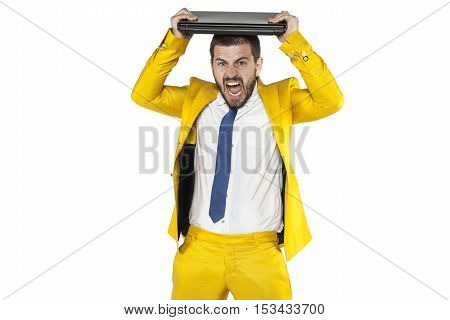 Businessman Destroying A Computer On His Head