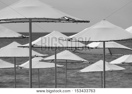 solar umbrellas closeup on the beach and against the background of the sea and the sky of monochrome tone