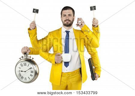 Businessman In A Golden Suit Is Very Multipurpose