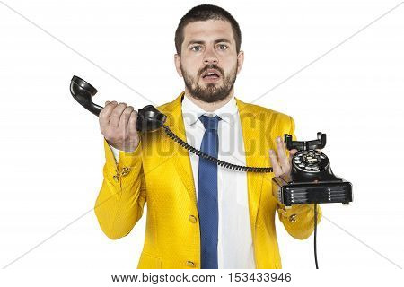 Businessman Does Not Know How The Old Phone