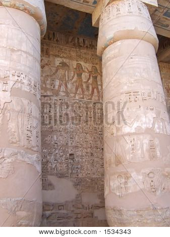 Detail Of The Hieroglyphs On The Culumns Of The Ramses Three Temple, Medinet Habou, Louxor, Egypt