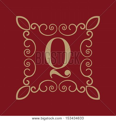 The Monogram letter Q. Calligraphic ornament. Gold. Retro, Business and Vintage Concepts. Vector illustration